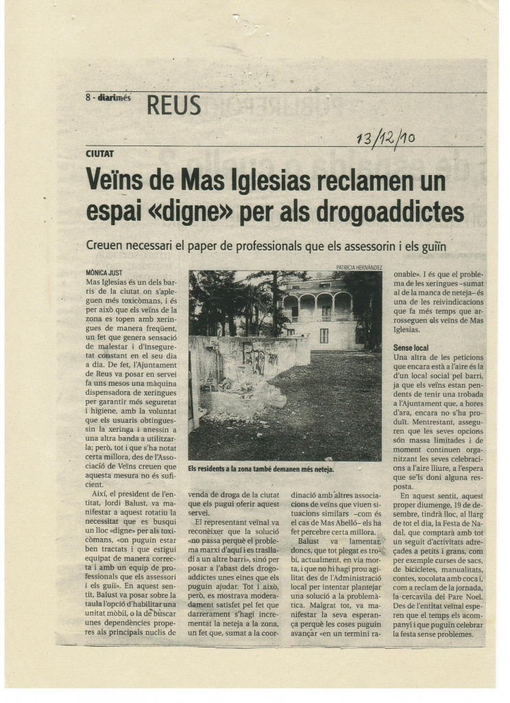 Diari notícia Mas Iglesias Desembre 2010